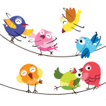 Silly Whimsical Birds on a Line 2